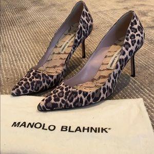 Manila Blahnik Light Pink Leopard Print Heels, 38